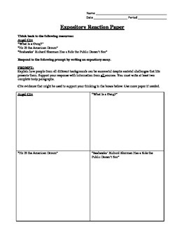 Expository Reaction Essay Paired Readings: Theme Success T