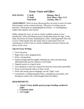Expository Writing: Cause & Effect Essay Unit with Rubric