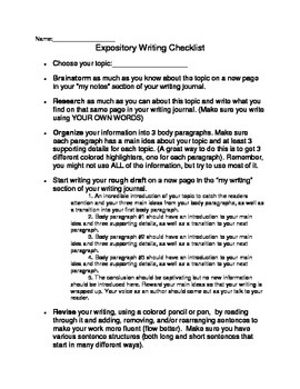 Expository Writing Checklist