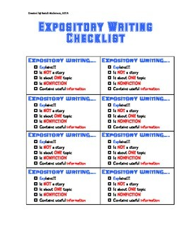Expository Writing Checklist Grades 1-3****Best Seller