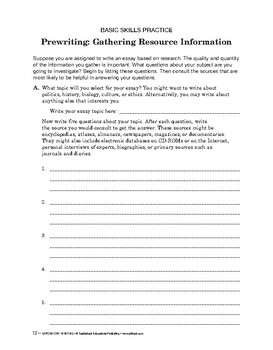 Expository Writing: Prewriting: Gathering Resource Information