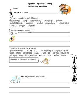 3rd, 4th & 5th Grade Expository Writing of the Qualities o