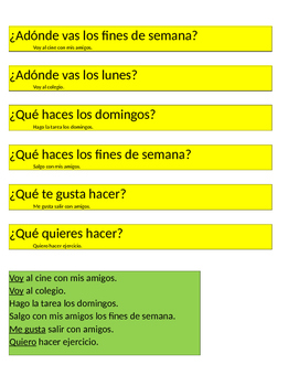Ask Answer Trade Speaking Activity gustar querer ir Expesa