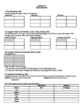 Expresate (Book 1) Ch. 10 Test Review Worksheet