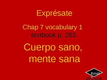 Exprésate Ch 7.1 illustrated vocabulary