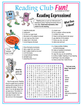 Expressions About Reading and Books Word Search Puzzle
