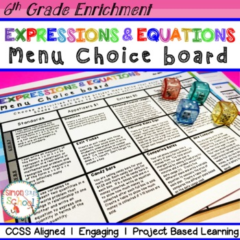 Expressions & Equations Enrichment Choice Board – Sixth Grade