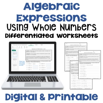 Expressions with Whole Numbers Worksheets  (3 Levels)