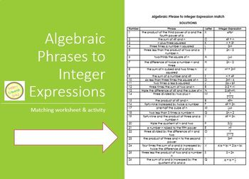 Expressions Match Worksheet - Algebraic Phrases to Integer