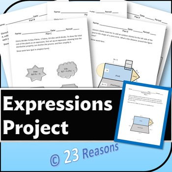 Expressions Project {Combining like terms and Distributing}