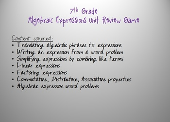 Expressions Unit Review Game: expressions, factoring, word