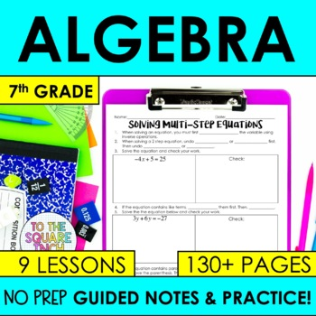 Expressions and Equations- 7th Grade Math Guided Notes and
