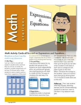 Expressions and Equations Math Station Activity Cards