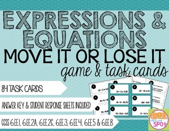 Expressions and Equations Move It or Lose It Game & Task C