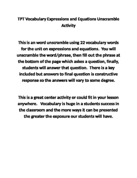 Expressions and Equations Unscramble Activity