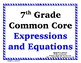 Expressions and Equations Word Wall with Example - 7th Grade