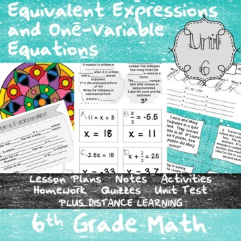 Expressions and One-Step Equations-(6th Grade MathTEKS 6.7
