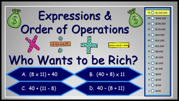 Expressions and Order of Operations Power Point Millionair