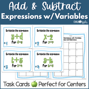 Expressions with Variables Task Cards (Add & Subtract)