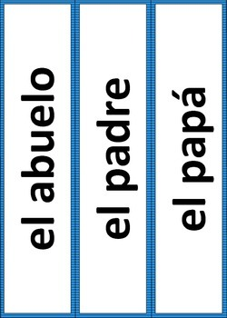 Exprésate 1A Chapter 5 Word Wall