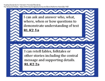 """Extended Common Core Standards """"I Can Statements"""" k-2"""