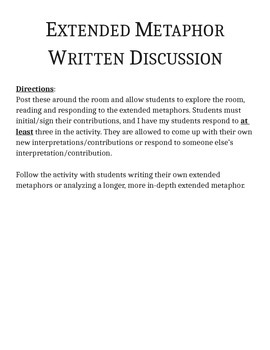 Extended Metaphor Written Discussion Prompts and Directions