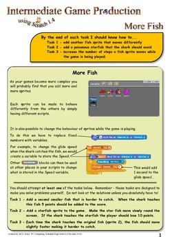 Extension Worksheets for Creating a Computer Game using Scratch