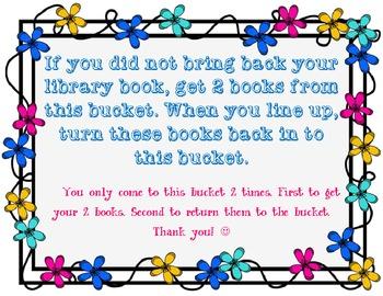 Extra Book Bucket Sign - Library Media Center