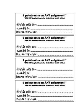 Extra Credit Passes & Bathroom/Water Passes (PDF with Blanks)