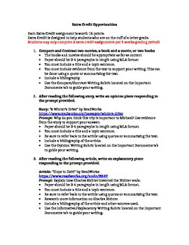 Extra Credit Writing Assignments for 5th Grade or higher ~