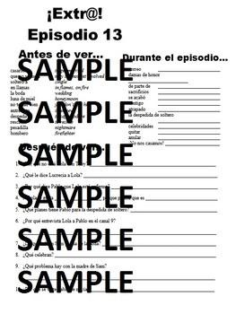 Extra! Extr@! episodio 13 Worksheet Spanish