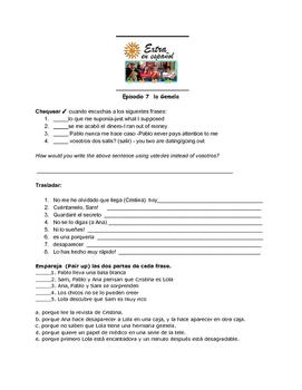 Extra en Español Episode 7 La Gemela worksheet