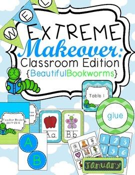 Bookworm Classroom Theme Printable Decor Kit Blue and Green