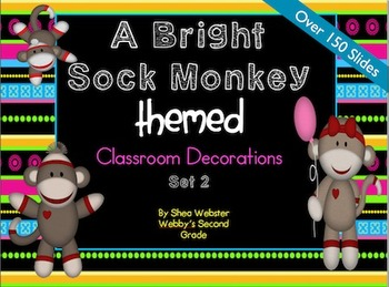 Extremely Cute Brightly Colored Sock Monkey Theme Classroom Decor