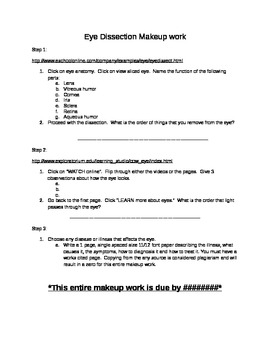 Eye Dissection video companion worksheet