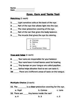 Eyes, Ears and Mouth Assessment (Test)