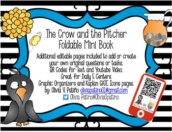 FABLE Crow and the Pitcher Mini Book-QR Codes-Common Core-