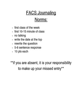 FACS Classroom Journaling Norms