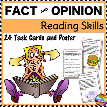 FACT and OPINION Task Cards to Improve READING COMPREHENSI