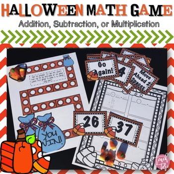 Halloween Math Game-Addition, Subtraction, or Multiplication