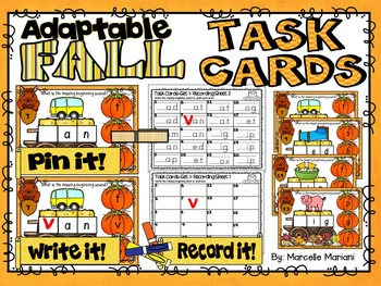 FALL-Beginning Sounds-ADAPTABLE TASK CARDS- Color & Black/White