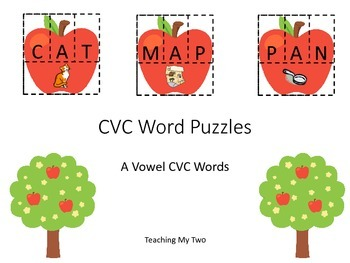 FALL CVC PUZZLE/Sort - A VOWEL (AT, AN, AD, AM, AP, AB wor