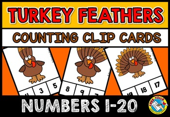 FALL MATH CENTER: THANKSGIVING COUNTING CLIP CARDS: TURKEY