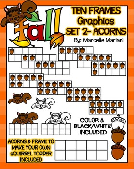 FALL MATH CLIPART GRAPHICS-ACORNS TEN FRAMES- COMMERICAL USE