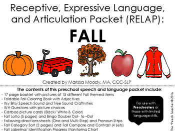 FALL- Receptive, Expressive Language, and Articulation Pac