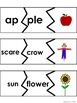 SYLLABLE  Game, Cards, worksheets--Fall theme