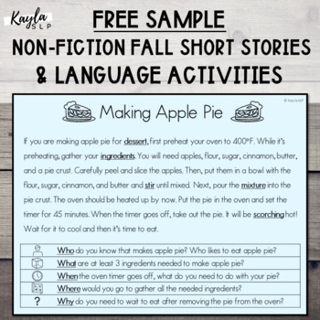 {FALL FREEBIE} Short Story + Language Activities! **SAMPLE**