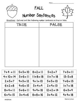 FALL True or False Number Sentences - Sorting True or Fals