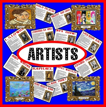 FAMOUS ARTISTS INFORMATION- PAINTINGS POSTERS- DISPLAY ART