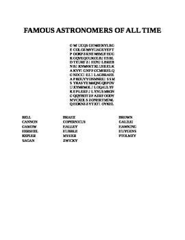 FAMOUS ASTRONOMERS OF ALL TIME WORD SEARCH
